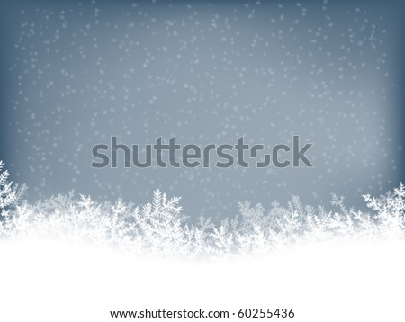 winter background with falling snowflakes - stock vector