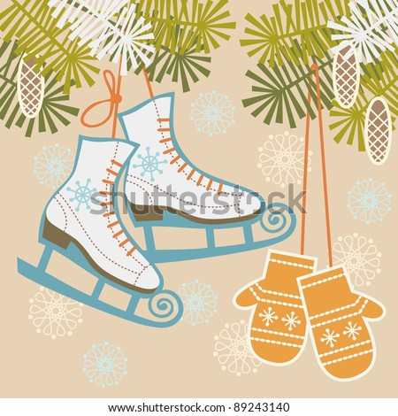 Winter background with figure skates, mittens, branches of pine and snowflakes