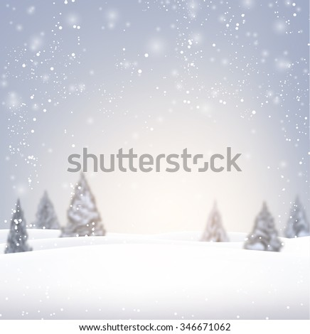 Winter background with fir-trees and snow. Vector illustration. - stock vector