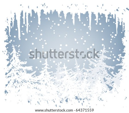 winter background with frame of icicles - stock vector