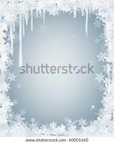winter background with frame of snowflakes