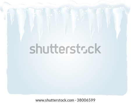 Winter background with icicles - vector illustration - stock vector