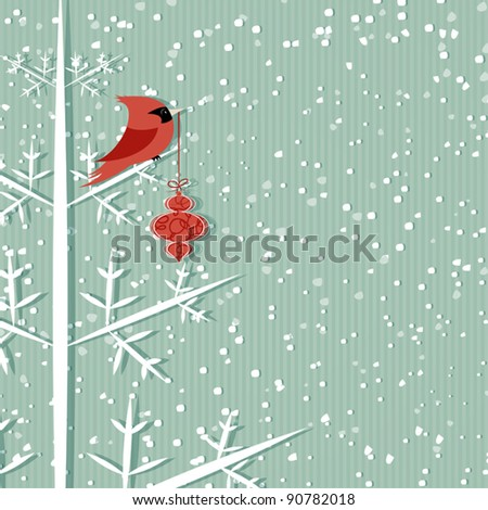 Winter background with red cardinal holding christmas decoration - stock vector
