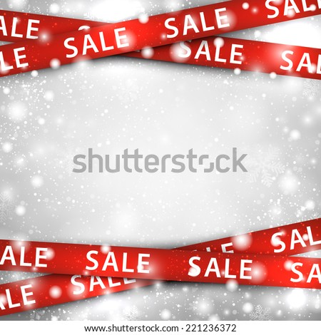 Winter background with red sale ribbons. Christmas vector illustration.  - stock vector