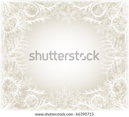 winter background with snowflake frame - stock vector