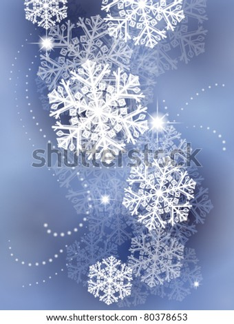 winter background with snowflakes and lights - stock vector