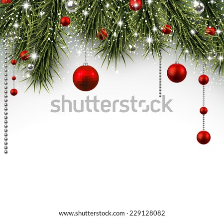 Winter background with spruce twigs and red baubles. Christmas vector illustration. Eps10. - stock vector