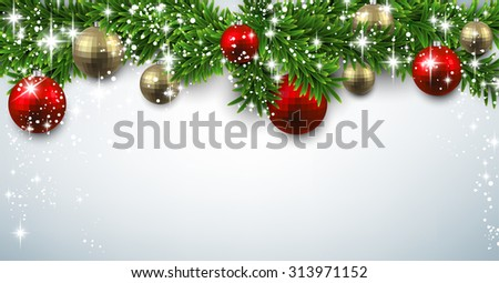 Winter banner with spruce twigs and baubles. Christmas vector illustration with place for text. - stock vector