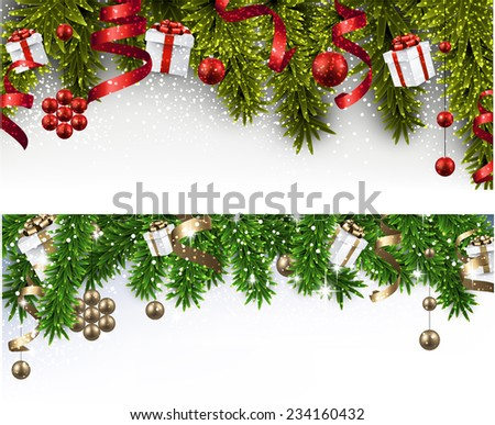 Winter banners with spruce twigs and colorful baubles. Christmas vector illustration. Eps10.  - stock vector