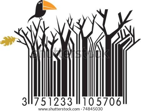 Winter barcode with bird - stock vector