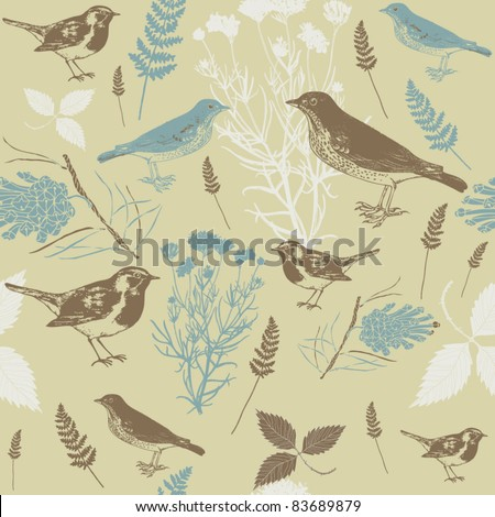 Winter birds seamless background - stock vector