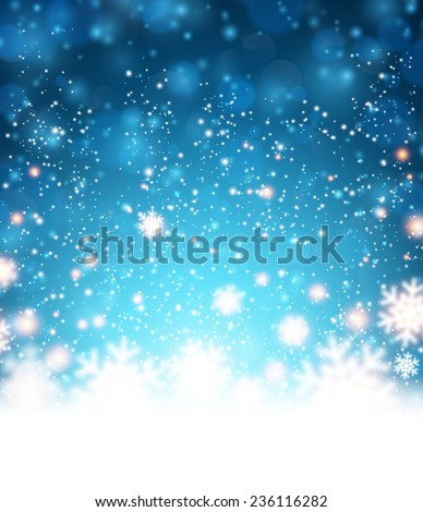 Winter blue background. Fallen defocused snowflakes. Christmas. Vector.  - stock vector