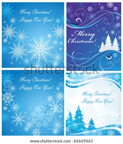 Winter blue card - stock vector