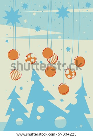 winter bright forest background - stock vector