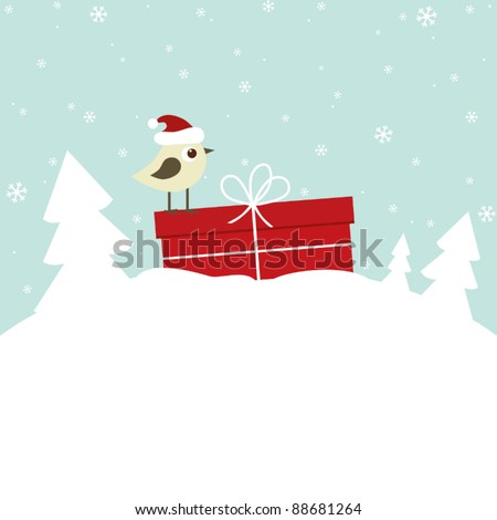 Winter card with bird and gift box - stock vector