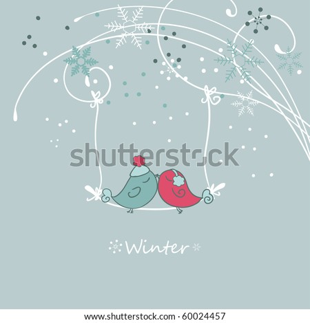 winter card with bird on a sviwng - stock vector
