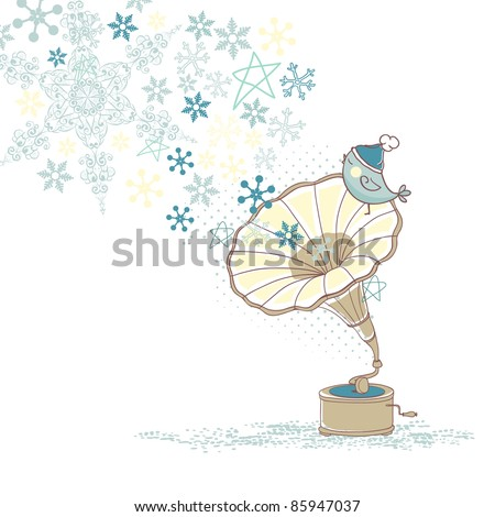 winter card with bird on gramophone - stock vector