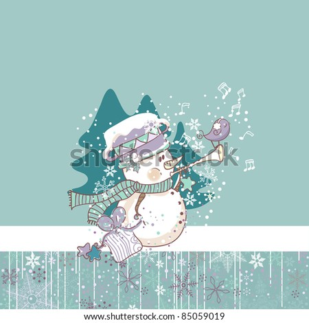 winter card with snowman playing trumpet - stock vector