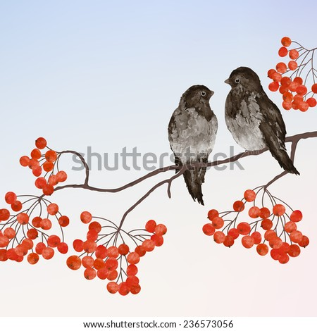 Winter card  with two birds on a branch of rowan - stock vector
