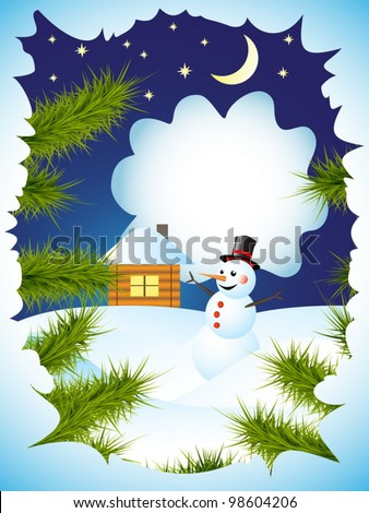 winter card with view through the spruce branches on snowman and house - stock vector