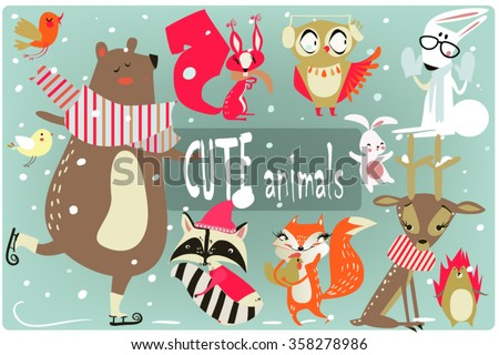 winter cartoon animals - stock vector
