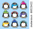 Winter cartoon penguin stickers. EPS10 vector format. - stock photo