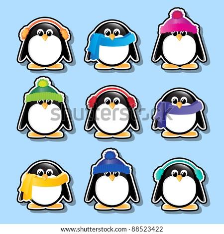 Winter cartoon penguin stickers. EPS10 vector format. - stock vector
