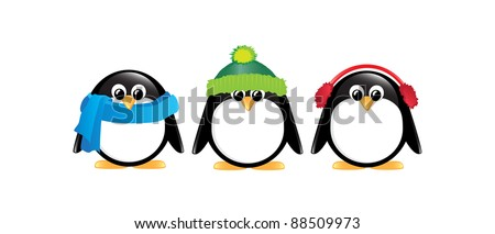 Winter cartoon penguins isolated on white. EPS10 vector format. - stock vector