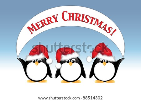 Winter cartoon penguins wearing Santa hats and holding a Merry Christmas banner. EPS10 vector format. - stock vector