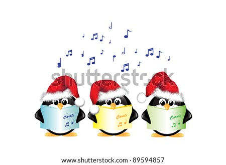 Winter cartoon penguins wearing Santa hats and singing Christmas Carols. Isolated on white. EPS10 vector format. - stock vector