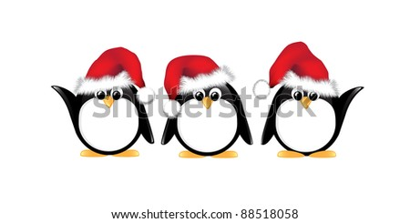 Winter cartoon penguins wearing Santa hats. Isolated on white. EPS10 vector format. - stock vector