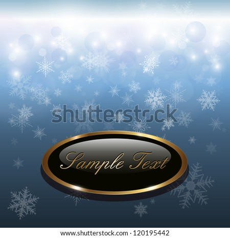 Winter christmas background blue with snowflakes, vector. - stock vector