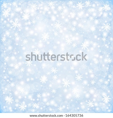 Winter Christmas background, falling snowflakes and stars - stock vector