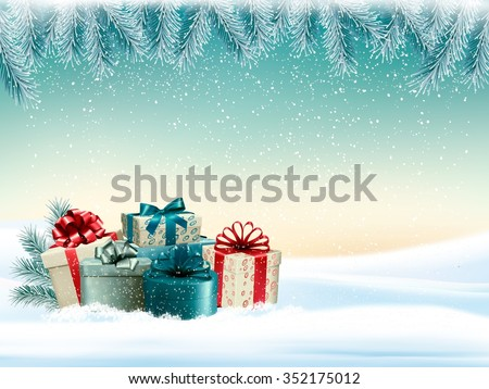 Winter christmas background with colorful presents Vector. - stock vector