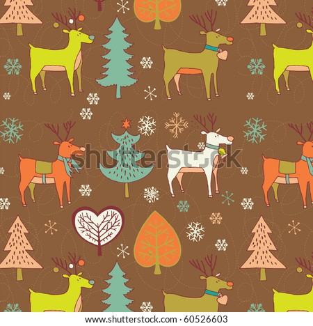 Winter Christmas background with deers