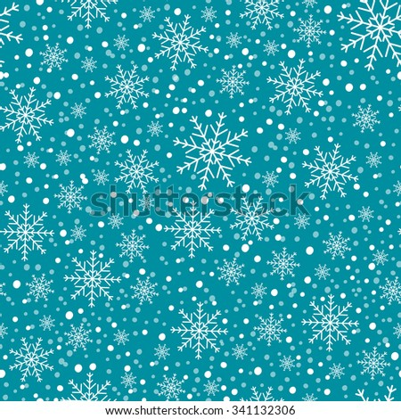 Winter Christmas background with snowflakes. - stock vector