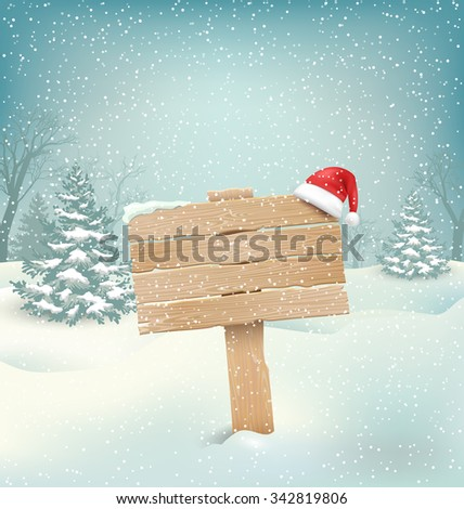 Winter Christmas Background with Wooden Signpost and Santa Hat - stock vector