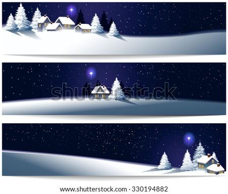Winter Christmas banners - stock vector