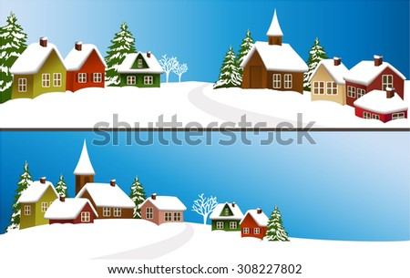 Winter Christmas banners with cartoon houses - stock vector