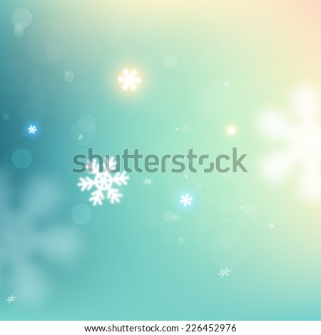 Winter Christmas Blurred Bokeh Background with Blurred Glow Snowflakes. Holiday Design for New Year Greeting Cards, Posters and Flyers. Vector. - stock vector