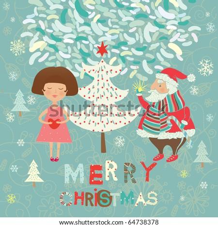Winter Christmas card - stock vector