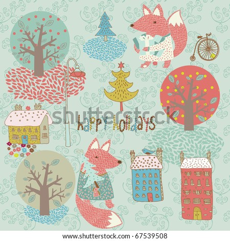 Winter Christmas card with fox - stock vector