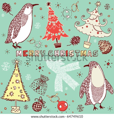 Winter Christmas card with penguins - stock vector