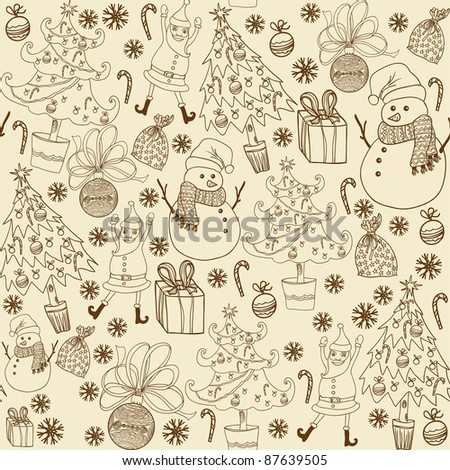 Winter christmas elements seamless pattern - stock vector