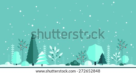 Winter Christmas Forest Flat Panorama Background Simple And Cute Landscape For App Web