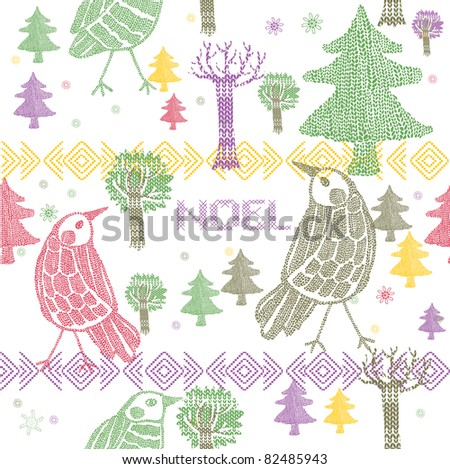Winter Christmas forest with birds