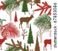 Winter Christmas forest with deer. seamless pattern - stock vector