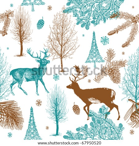 Winter Christmas forest with deers. seamless pattern - stock vector