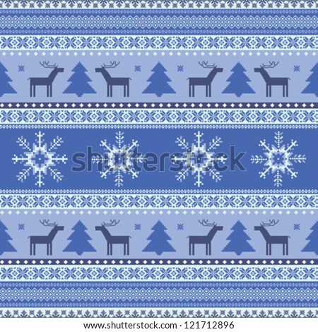 Winter christmas knitted traditional seamless pattern with deer - stock vector
