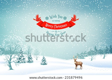 Winter Christmas Landscape Vector Background with snow covered hills, deer, ribbon banner - stock vector